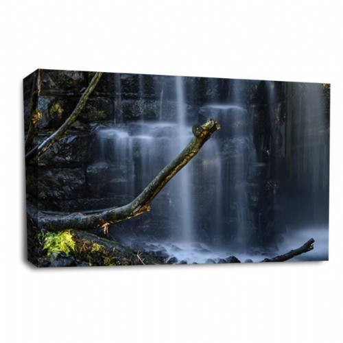 Secret Waterfall Wall Art Picture Forest Wood White Black Print